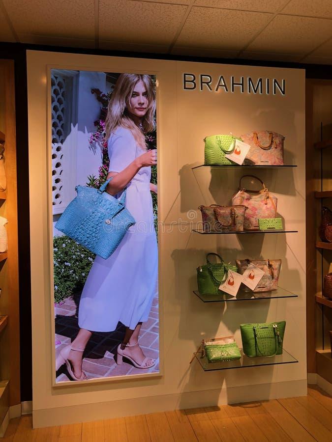 Brahmin Handbags in a Department Store. Brahmin Handbags on display in a department store located in Scottsdale Mall in Scottsdale Arizona royalty free stock photography