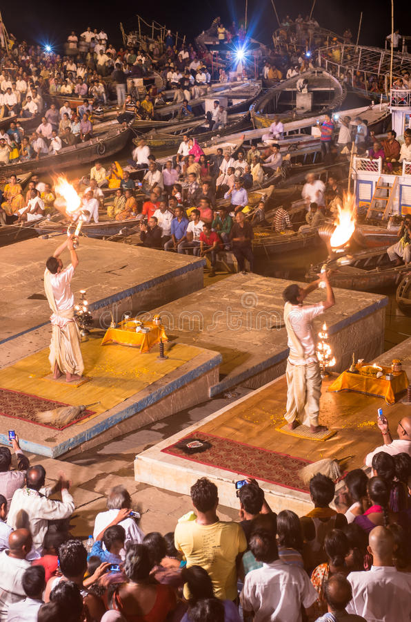 Brahmin priests perform a Puja ceremony to the sacred river Gan royalty free stock image