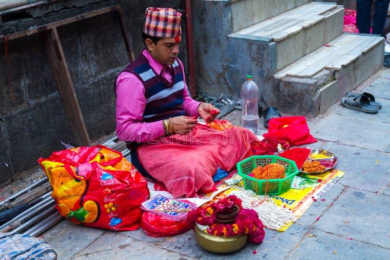 Brahmin Priests Waiting People on Rakshya Bandhan or Janai Purnima Day in Kathmandu Nepal. stock photos