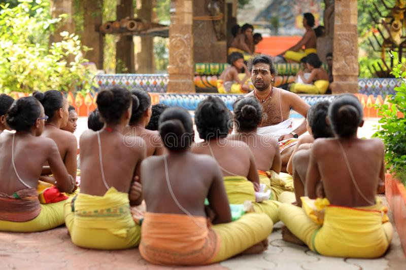 Brahmin students in Madurai, India. A group of students in a traditional Brahmin school in the Thiruparankundram Murugan temple in Madurai, India royalty free stock photography