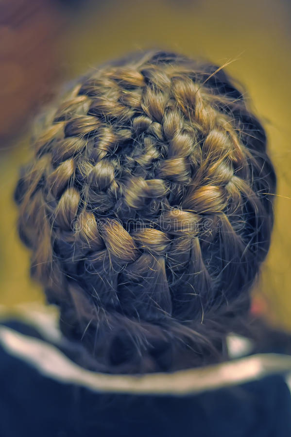 Braid braided circle. Young woman with braided hair stock photo