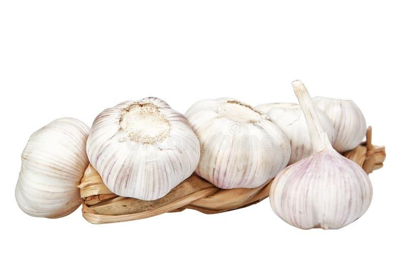 Braid of garlic. Braid of garlic on a white background stock images