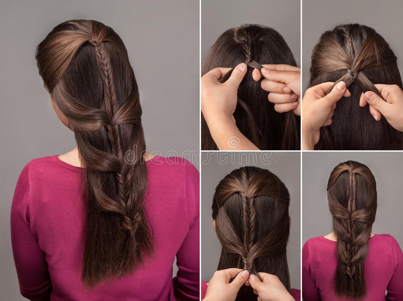 Braid hairstyle tutorial stock images
