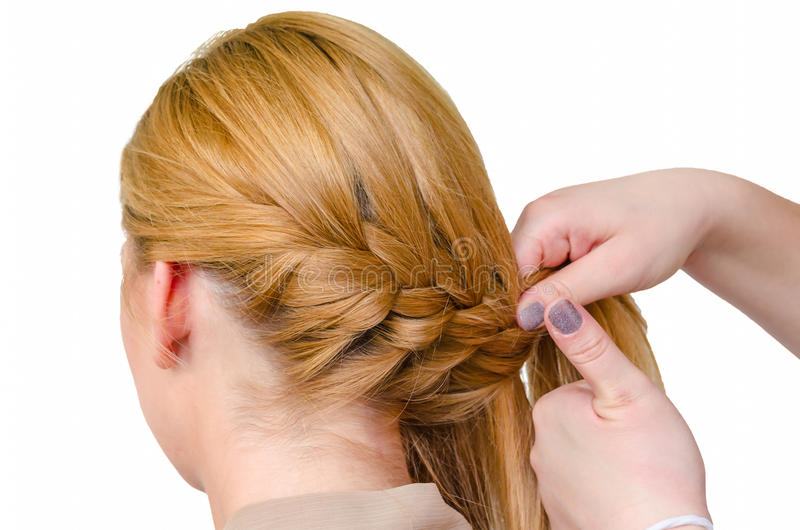 Braid, rear view of a hairstyle royalty free stock photo