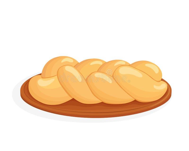 Braided bread, challah vector illustration