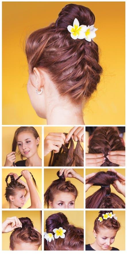 Braided bun updo tutorial stock photo