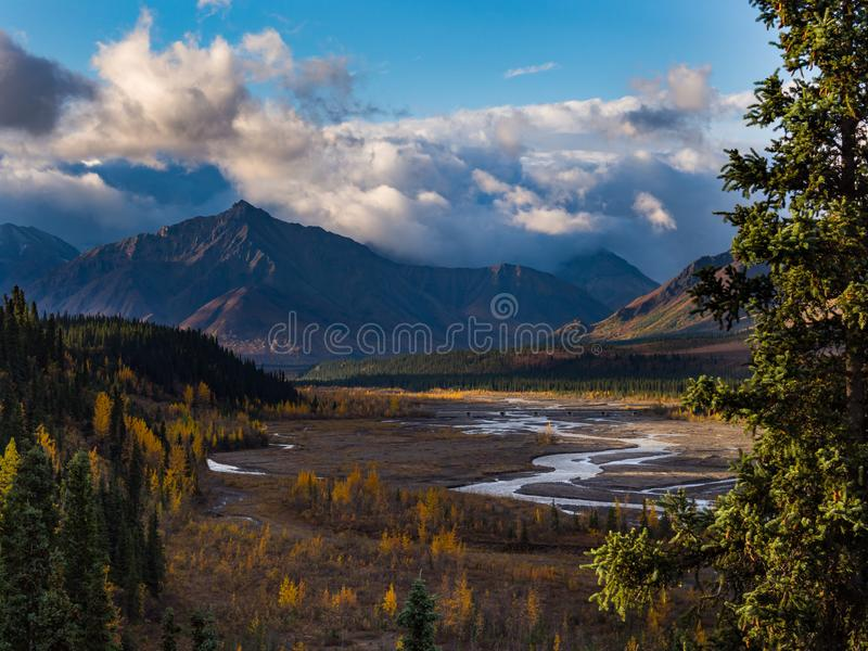 Braided River Valley, Mountains in Autumn, Denali National Park stock photography