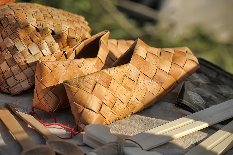 Products Of National Crafts Braided Sandals Stock Image