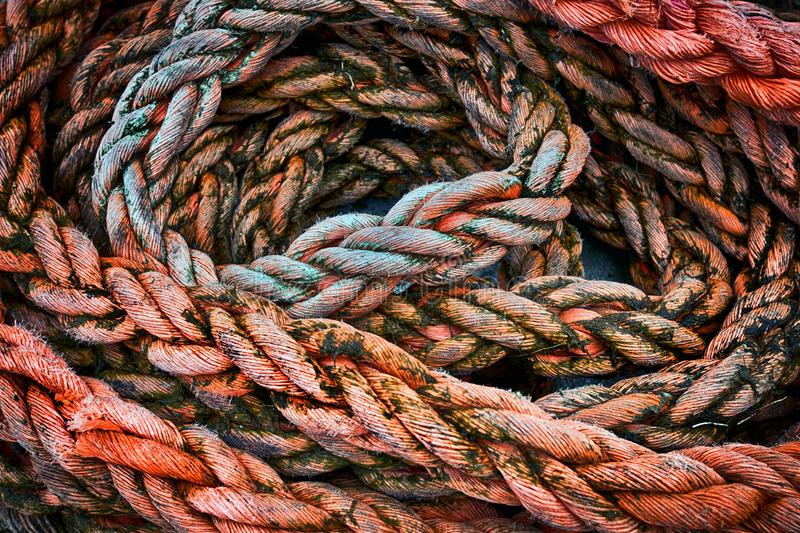 Braided sea rope. The texture of a braided sea rope royalty free stock image