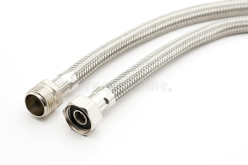 Braided steel water hose stock images