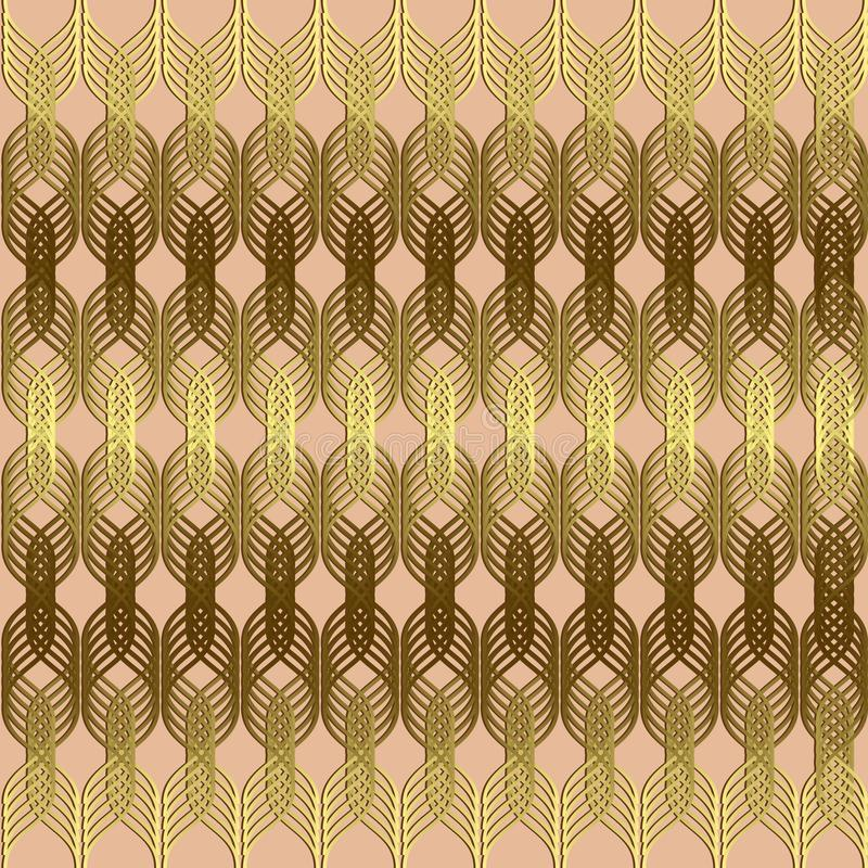 Braided wavy lines gold seamless pattern. Vector geometric abstract waves background. Ornamental luxury design with shiny golden vector illustration