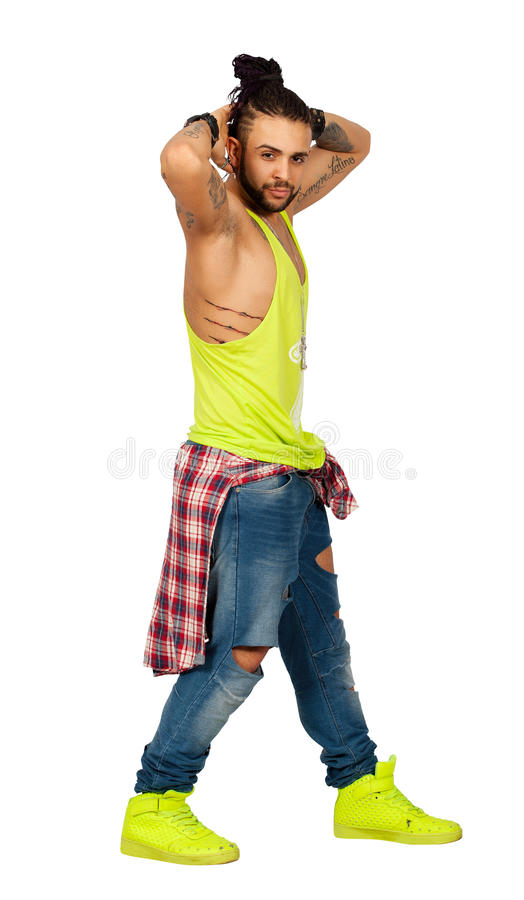 Braids hair urban style man hands behind his head. On white background. PNG available stock photo