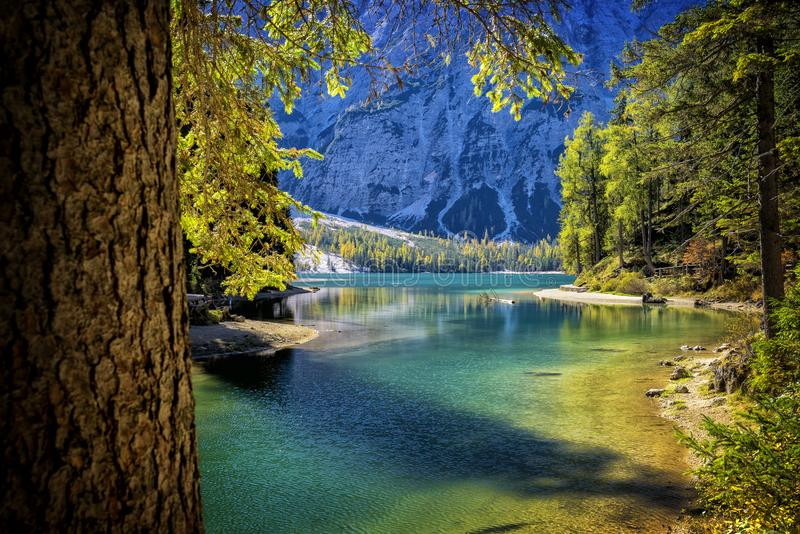 Braies湖,白云岩,特伦托自治省女低音阿迪杰,意大利 免版税库存图片