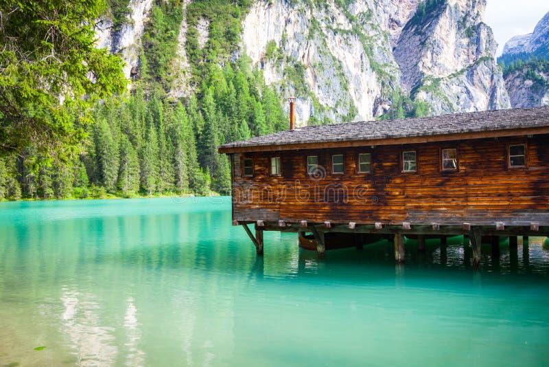 Braies See in Dolomiti-Region, Italien stockfotografie