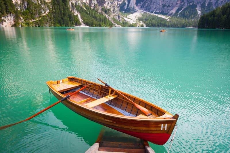 Braiesmeer in Dolomiti-gebied, Italië stock afbeelding