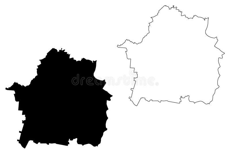 Braila klottrar ståndsmässiga administrativa uppdelningar av Rumänien, för regionöversikt för utveckling Sud-Est illustration för stock illustrationer