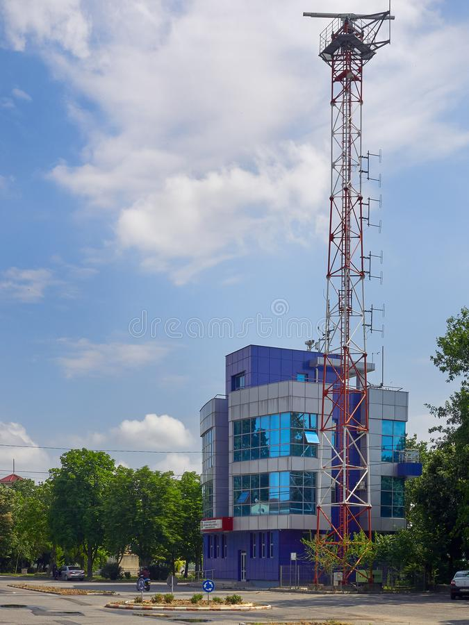 Harbour`s master offices in Braila, Romania. Braila, Romania - May 20, 2018: Harbour`s master offices in Braila, Romania stock photo