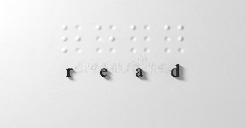Braille Concept Read And Letters. A closeup concept of a set of four isolated braille letters spelling out the word read and extruded regular black letters stock photography