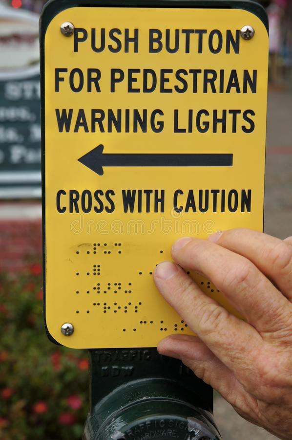 Braille Cross Walk Sign For The Blind royalty free stock photos