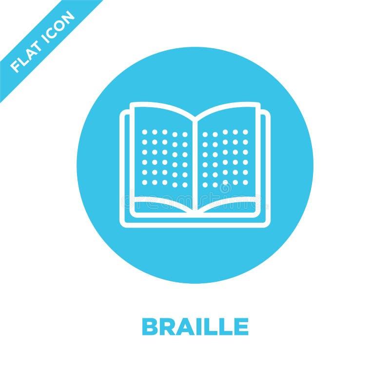 braille ikony wektor od dostępności kolekcji Cienka kreskowa Braille konturu ikony wektoru ilustracja Liniowy symbol dla używa da ilustracji