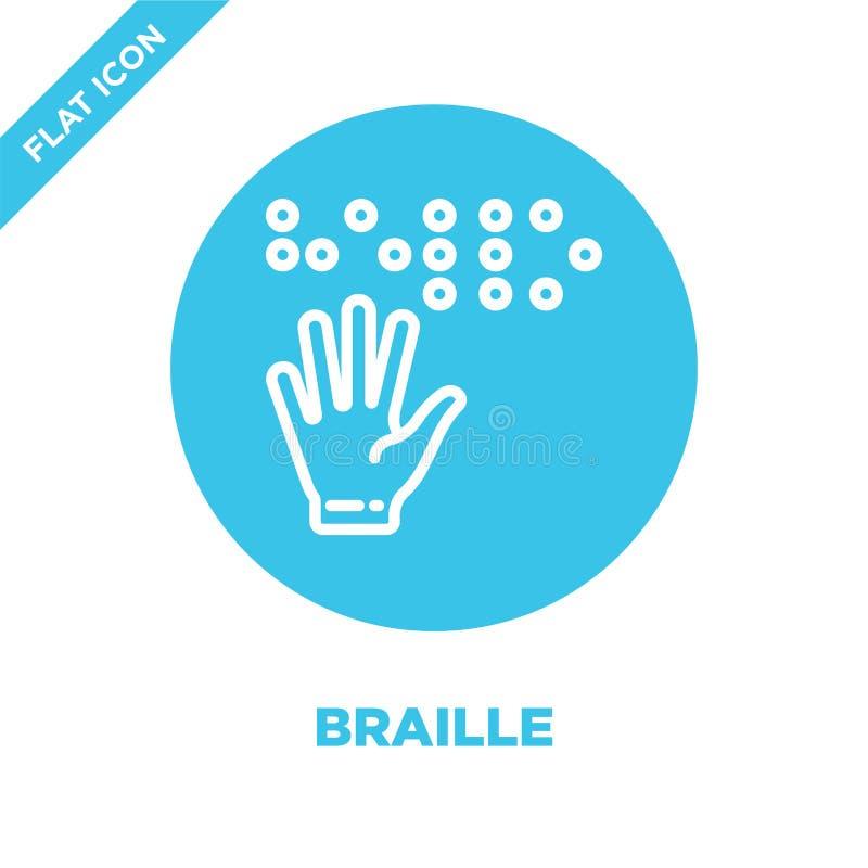 braille ikony wektor od dostępności kolekcji Cienka kreskowa Braille konturu ikony wektoru ilustracja Liniowy symbol dla używa da royalty ilustracja