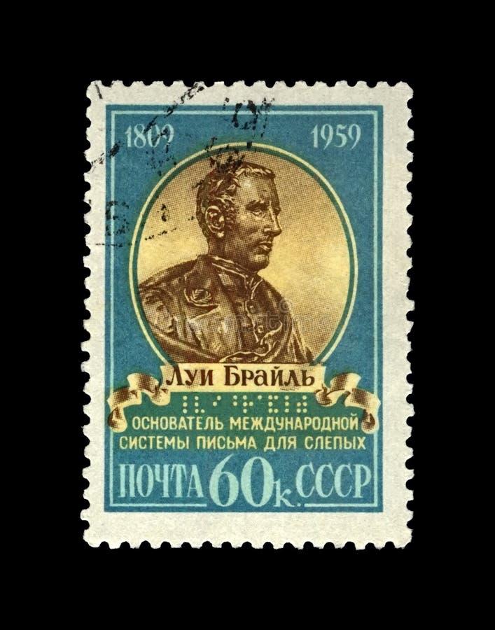 Braille Louis, beroemde opvoeder, uitvinder van lezing en het schrijven systeemaka tastbaar codecijfer voor gebruik door de blind royalty-vrije stock foto's