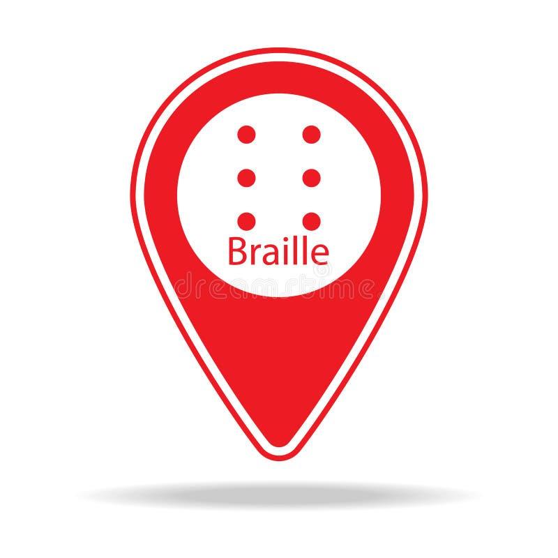 braille mapy szpilki ikona Element ostrzegawcza nawigaci szpilki ikona dla mobilnych pojęcia i sieci apps Szczegółowa Braille map royalty ilustracja