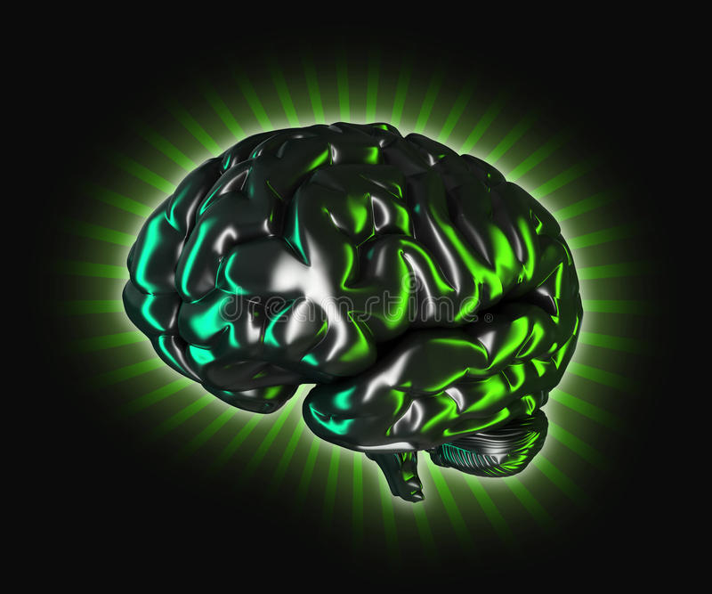Brain. Strong brain, 3d generated picture stock illustration