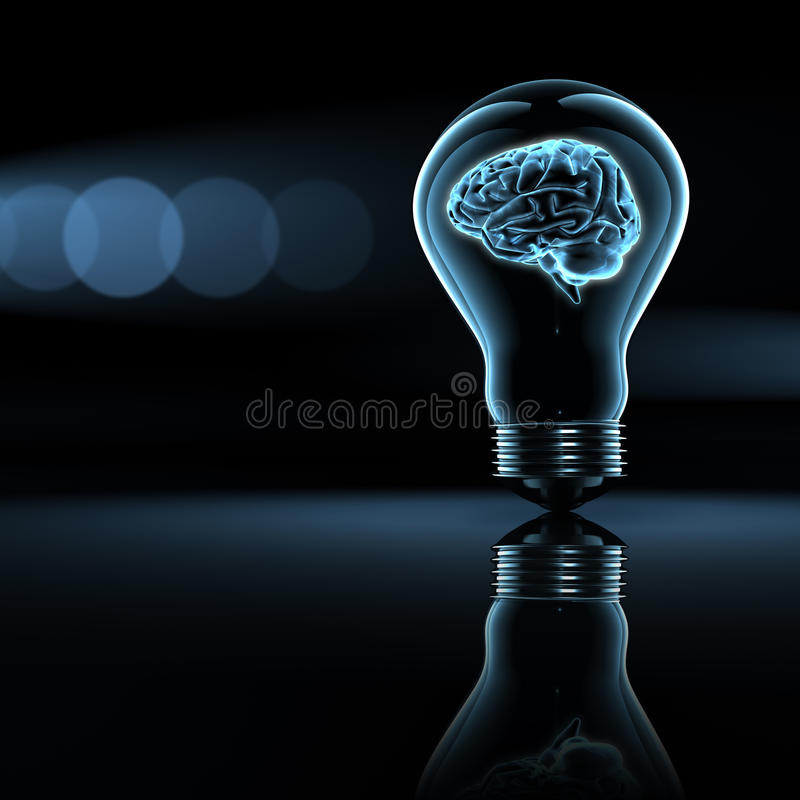 Brain. A scanned brain in a lighting bulb