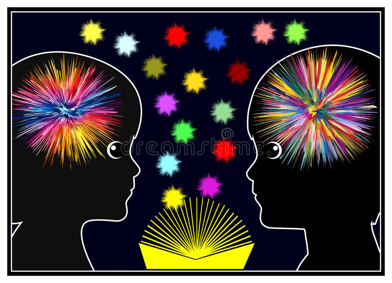 Brain Activity while Reading. Books light up the mind of children in early childhood education vector illustration