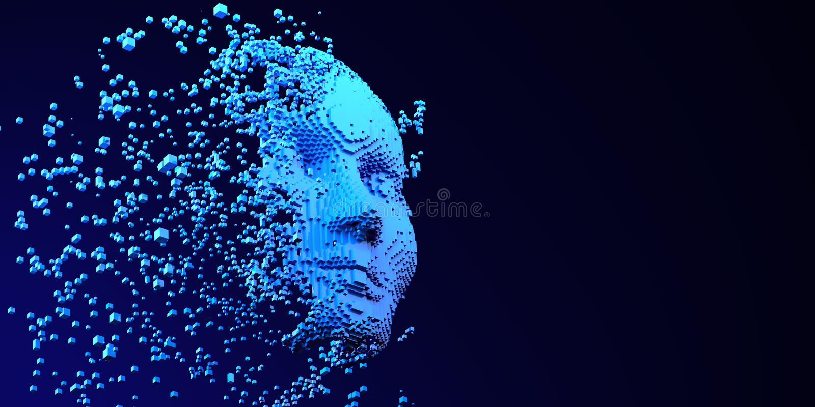 Brain AI Artificial intelligence Machine Learning Abstract Head Business Internet Technology Concept stock illustration