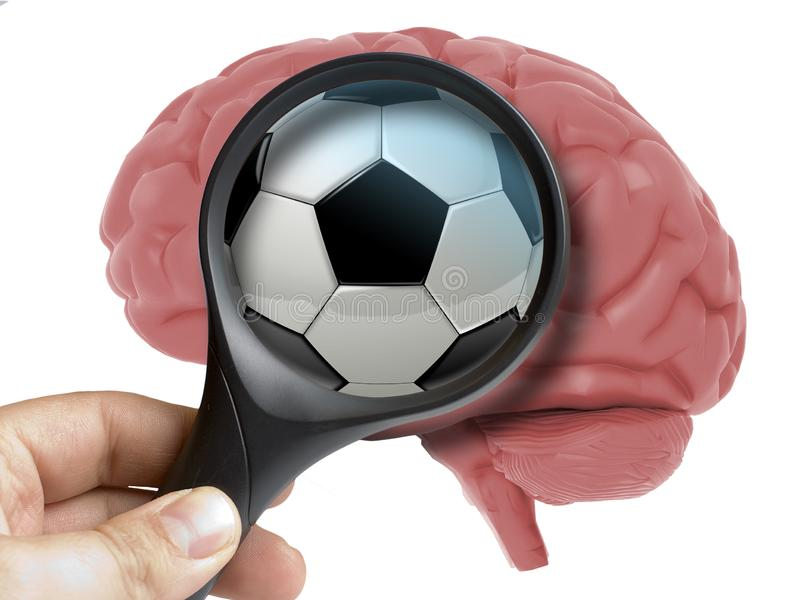 Brain Analyzed humain avec du ballon de football de loupe ou dépendance de boule du football à l'intérieur de d'isolement illustration stock