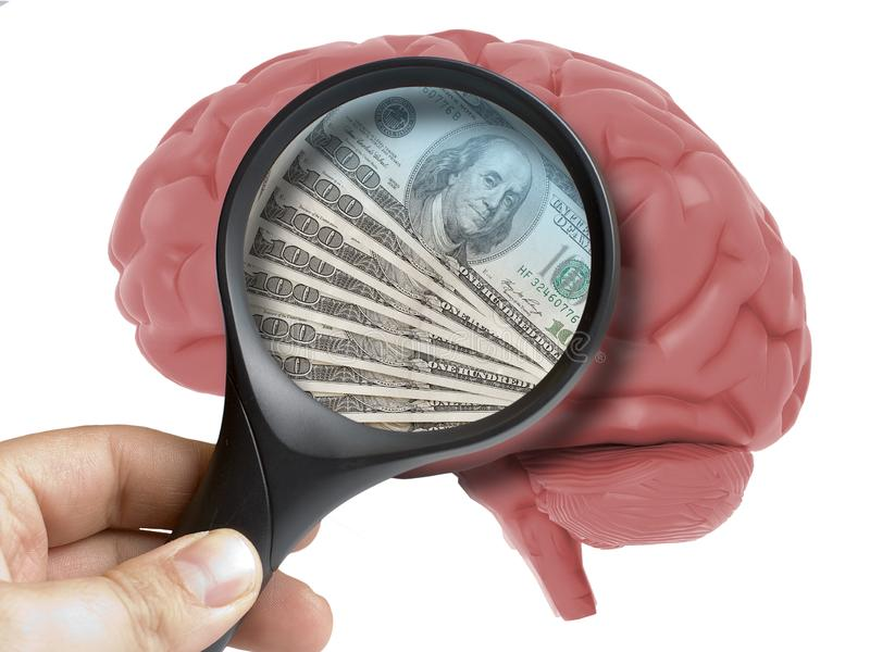 Brain Analyzed humano con los billetes de banco los E.E.U.U. de los dólares del dinero de la lupa dentro del apego aislados libre illustration