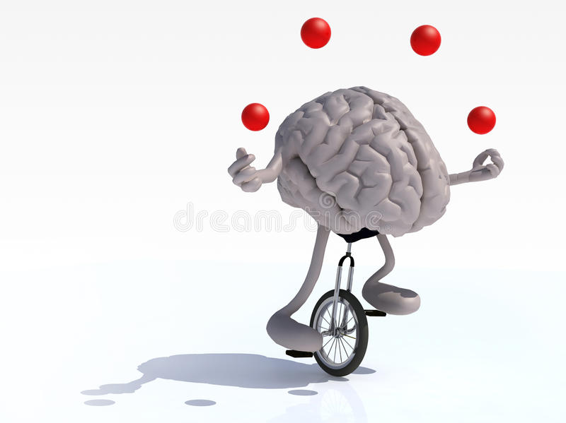 Brain With Arms And Legs Juggle Rides A Unicycle Stock Illustration