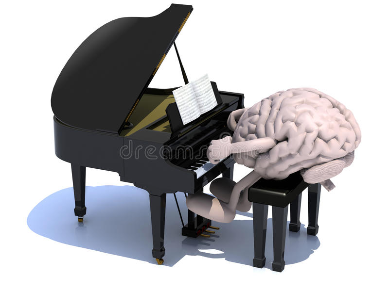 Brain with arms and legs playing a piano stock illustration