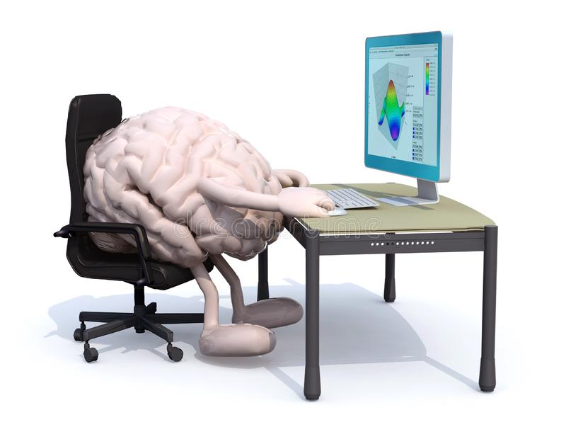 Brain work on desk with computer. Brain with arms and legs seating working on desk with computer, 3d illustration stock illustration