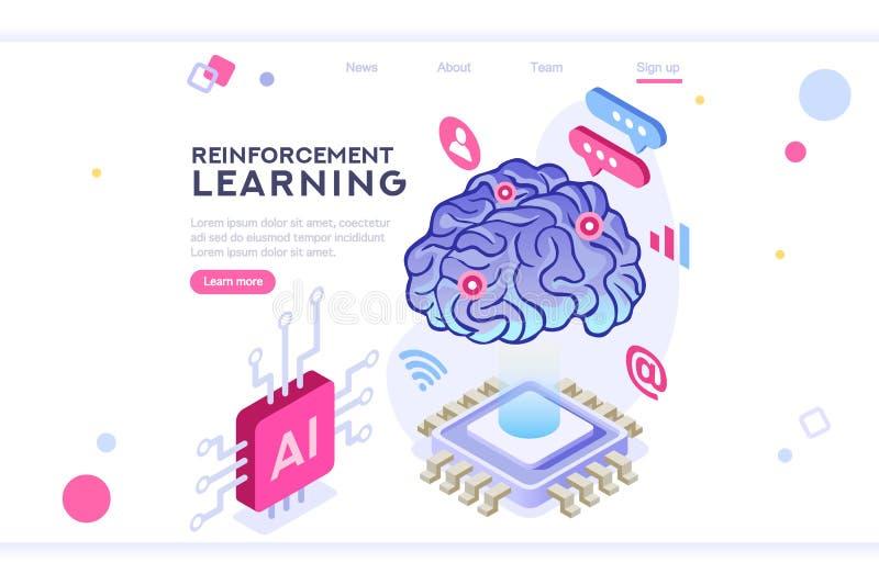 Brain Artificial Intelligence Machine Learning-Innovatie vector illustratie