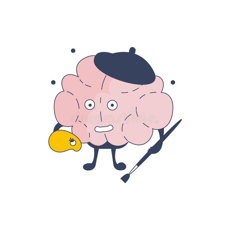 Brain Artist Comic Character Representing intellekt- och intellektuellaktiviteter av för tecknad filmlägenhet för mänsklig mening vektor illustrationer