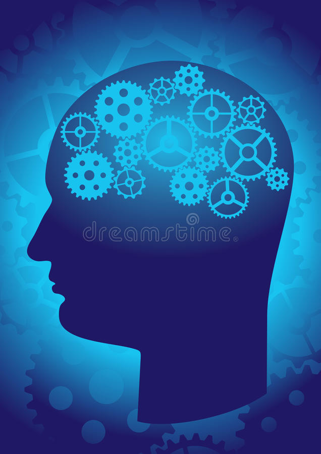 The brain as a gear stock illustration