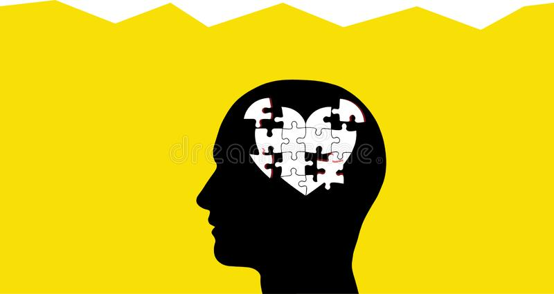 Brain as Heart Puzzle Pieces In Head royalty free illustration