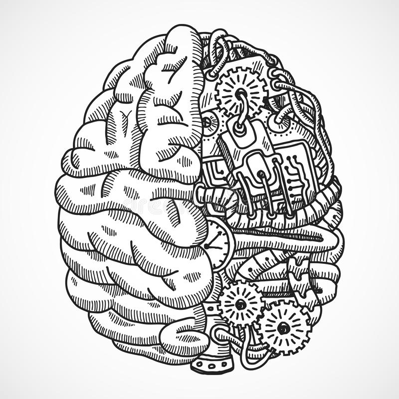 Brain as processing machine vector illustration
