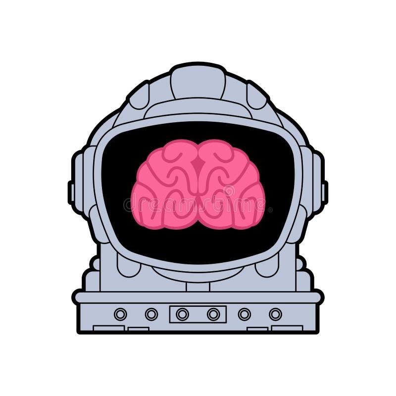 Brain in astronaut helmet. Brains spaceman. vector illustration.  vector illustration