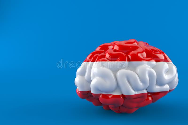 Brain with austrian flag. Isolated on blue background. 3d illustration stock illustration