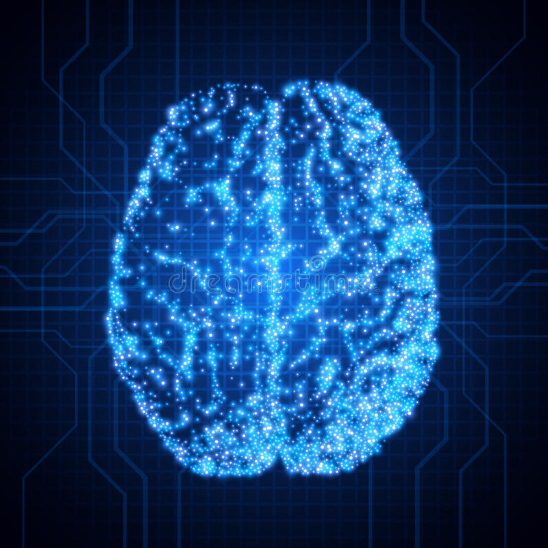 Brain. Background with brain. The concept of thinking. Brain neurons. Abstract technology background vector illustration