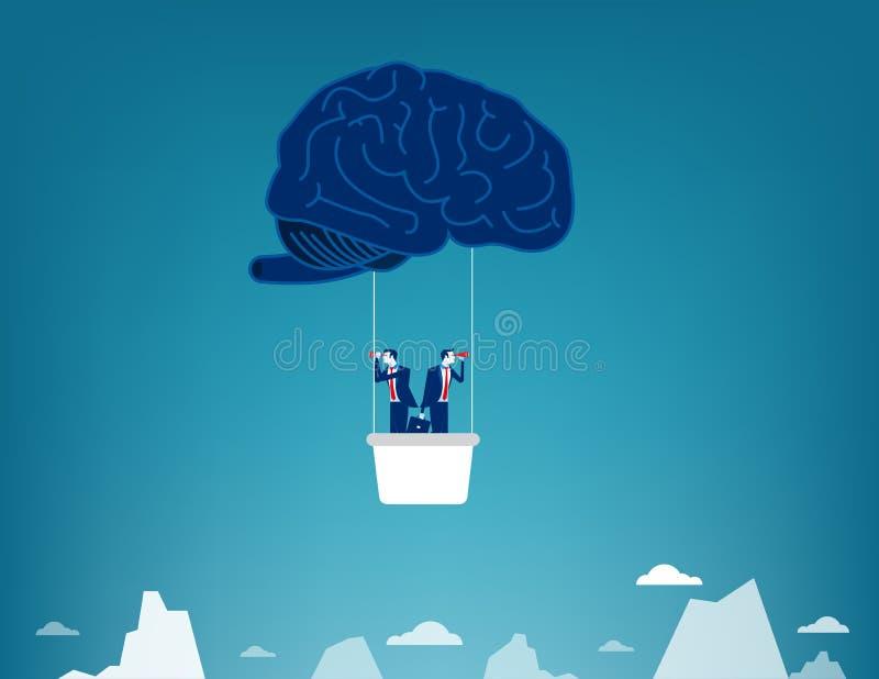 Brain Balloon Equipo y búsqueda del negocio Ejemplo del vector del negocio del concepto libre illustration
