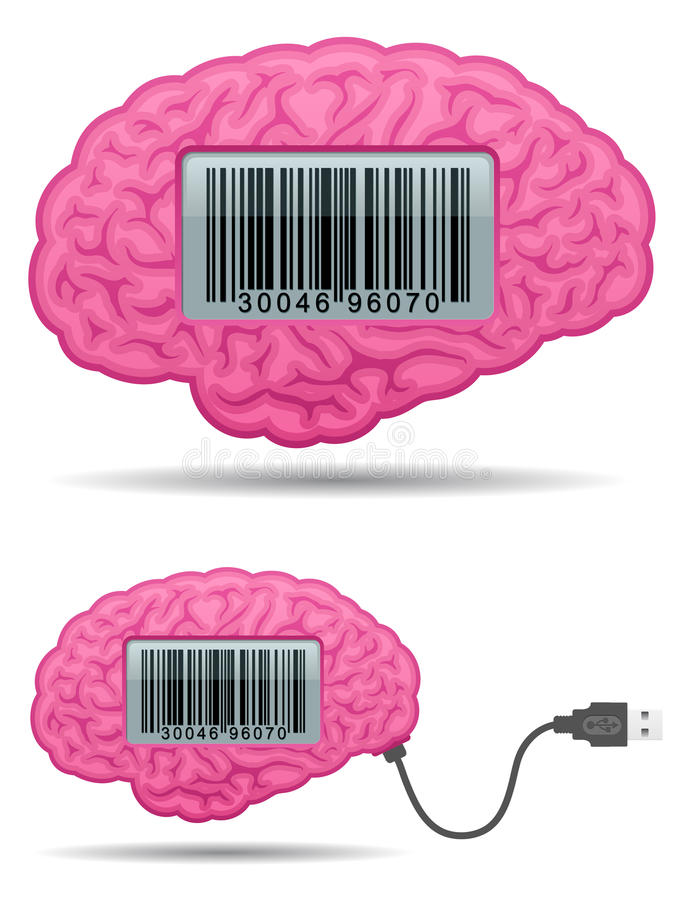 Brain with barcode screen and usb cable royalty free illustration