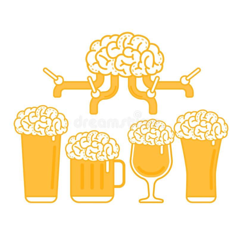Brain Beer Tap e vários tipos de vidro ilustração stock