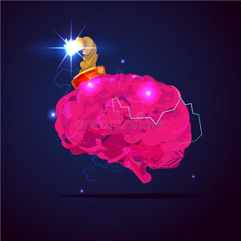 Brain bomb. mind explosion concept - stock illustration