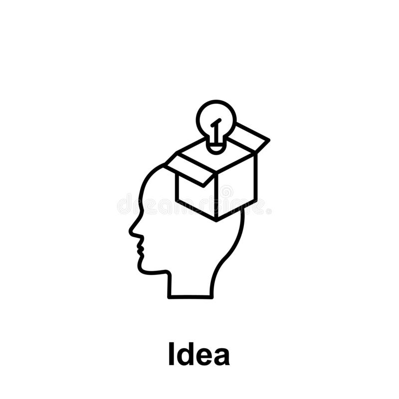 Brain, bulb, gift icon. Element of creative thinkin icon witn name. Thin line icon for website design and development, app vector illustration