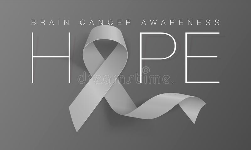 Brain Cancer Awareness Calligraphy Poster Design. Hope Realistic Grey Ribbon. May is Cancer Awareness Month. Vector. Brain Cancer Awareness Calligraphy Poster royalty free illustration